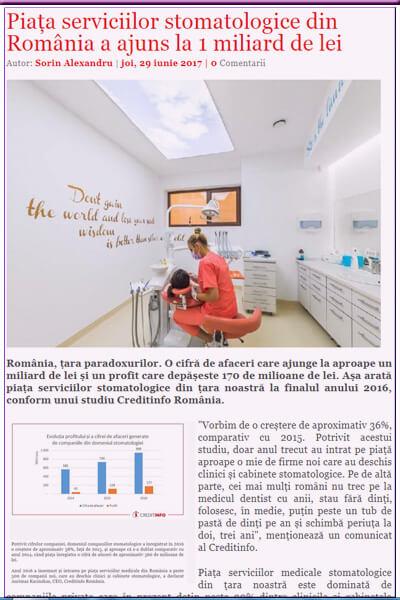 Piața serviciilor stomatologice din România a ajuns la 1 miliard de lei